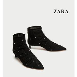 Zara Kitten Heel Pearl Tulle Ankle Booties